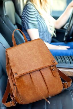 棕色PU皮革背包