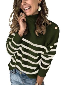 绿色条纹纽扣装饰保暖舒适高领毛衣