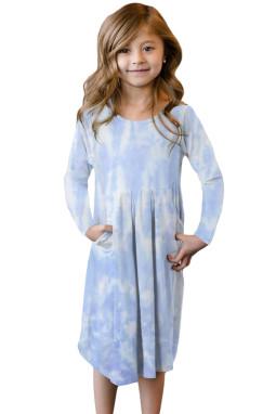 浅蓝色扎染印花隐藏口袋中长女童连衣裙