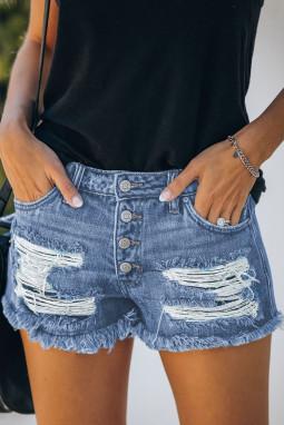 蓝色破洞磨损中腰仿旧牛仔短裤