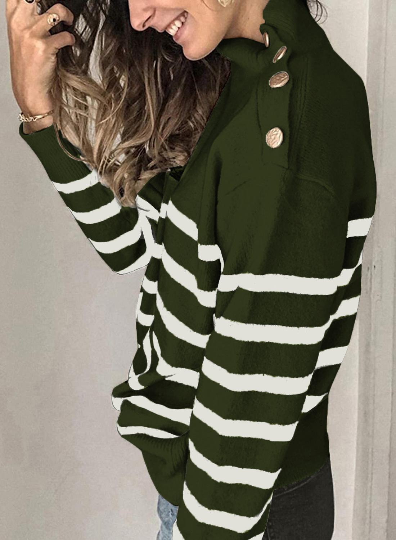 绿色条纹纽扣装饰保暖舒适高领毛衣 LC272111
