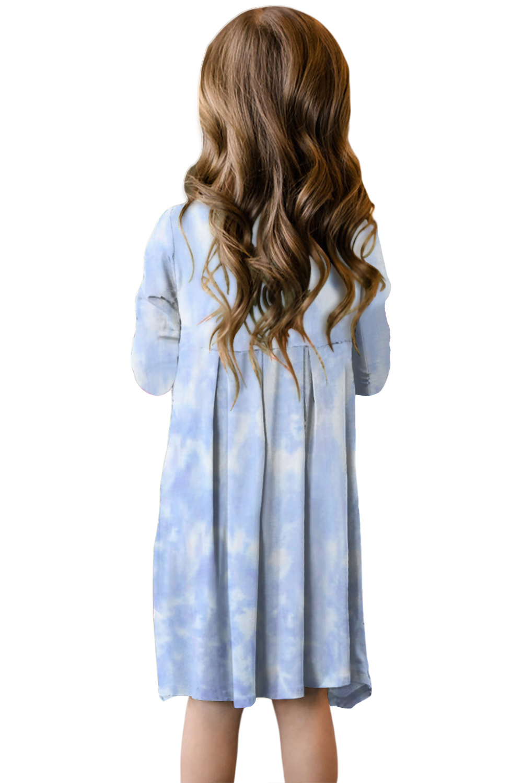 浅蓝色扎染印花隐藏口袋中长女童连衣裙 TZ61014