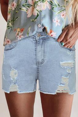 浅蓝色高腰磨损牛仔短裤