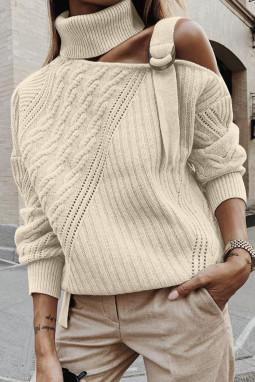 杏色别致不对称镂空搭扣优雅高领女士毛衣