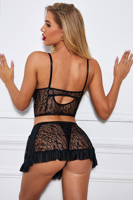 黑色性感花卉蕾丝吊带裙式丁字裤情趣内衣套装 LC35223