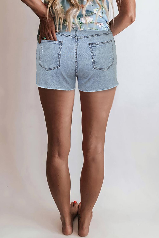 浅蓝色高腰磨损牛仔短裤 LC78839