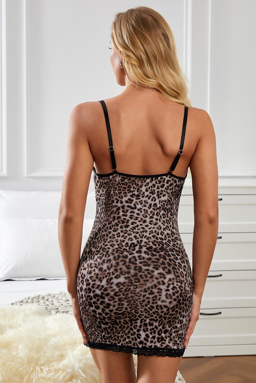 豹纹蕾丝拼接可调节可爱性感吊带睡裙 LC31282