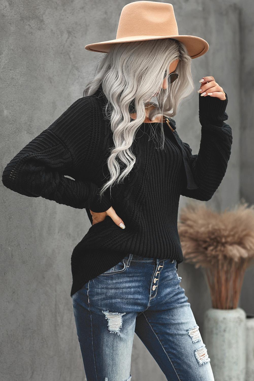 黑色别致不对称镂空搭扣优雅高领女士毛衣 LC272439