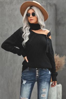 黑色别致不对称镂空搭扣优雅高领女士毛衣