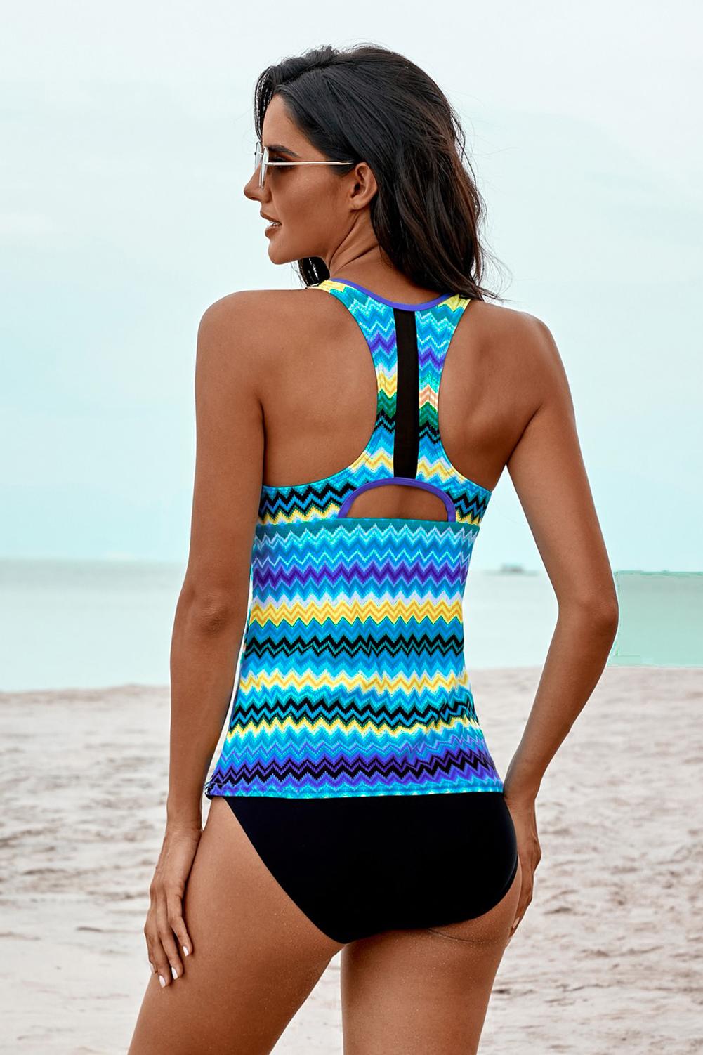蓝色波浪条纹背心式三角保守泳装两件套 LC411483