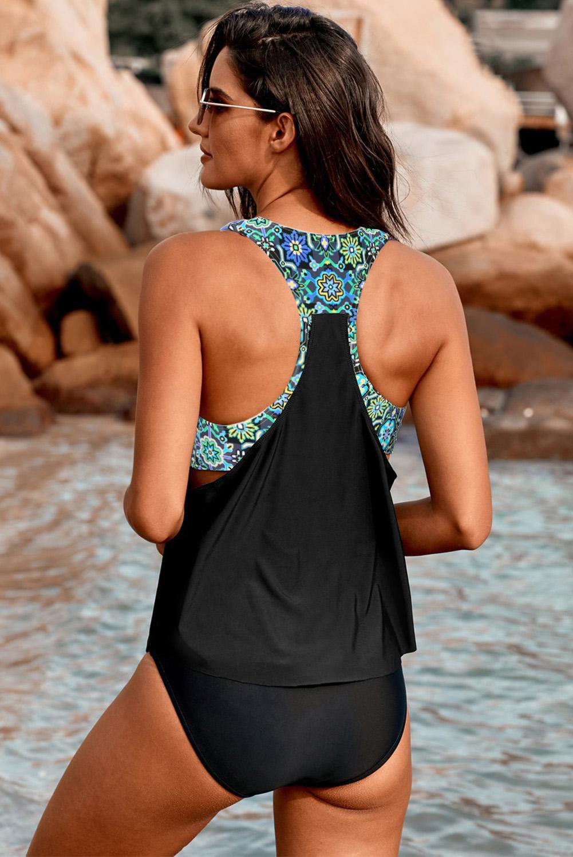 黑色低领印花拼接背心三角泳裤保守两件套泳装 LC411477