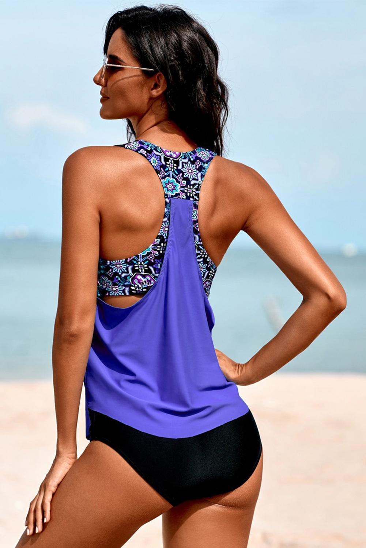 紫色低领印花拼接背心三角泳裤保守两件套泳装 LC411477