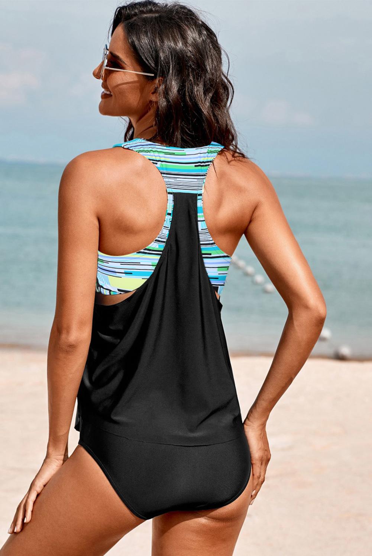 黑色低领条纹印花拼接背心三角泳裤保守两件套泳装 LC411477