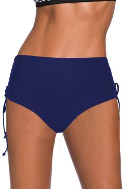 蓝色抽绳抽褶边高腰泳裤