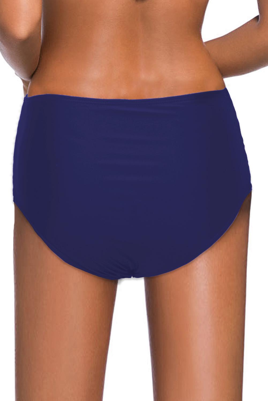 蓝色镂空交叉带侧边高腰泳裤 LC472027