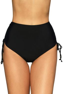 黑色抽绳抽褶边高腰泳裤