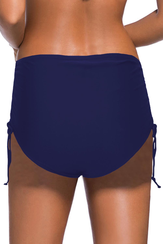 蓝色抽绳抽褶边高腰泳裤 LC472026