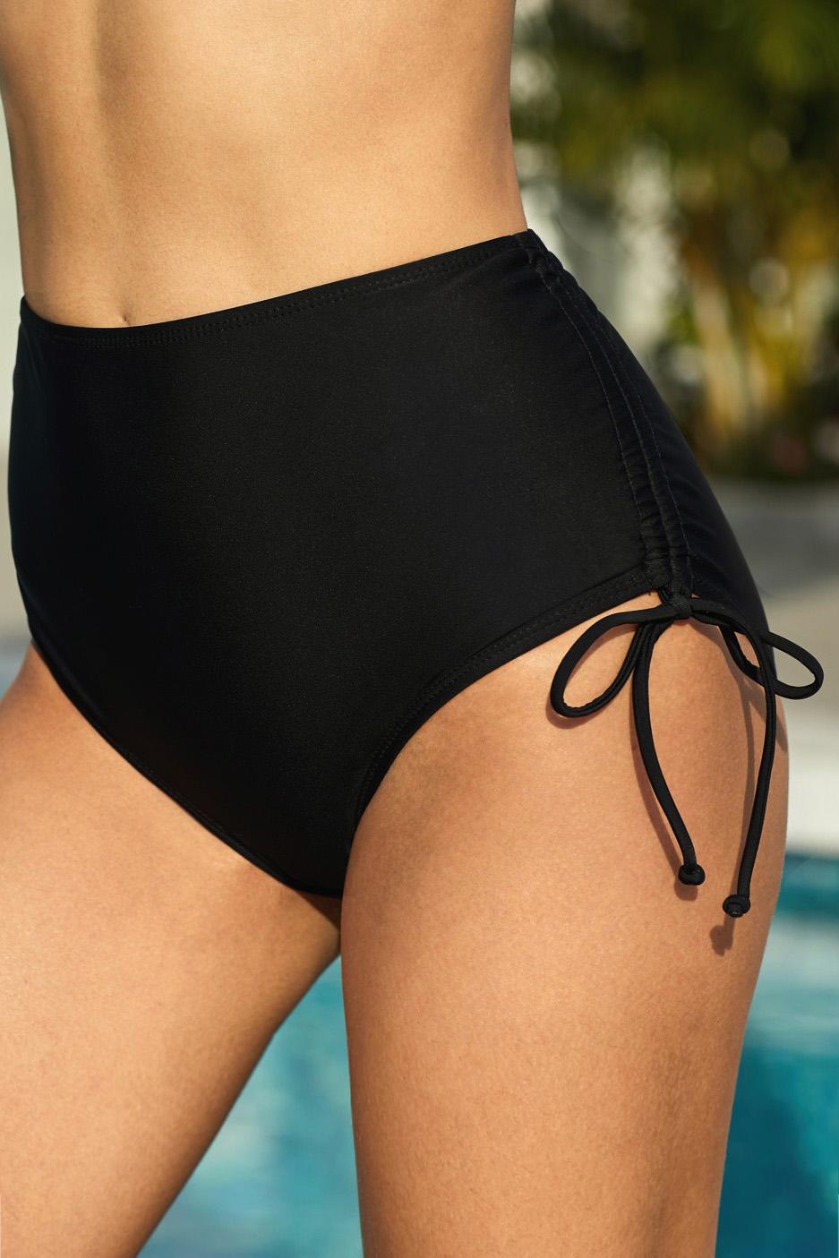 黑色抽绳抽褶边高腰泳裤 LC472026