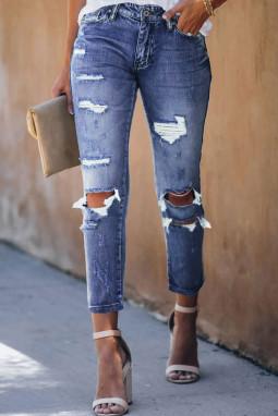 中蓝色水洗仿旧破洞牛仔裤