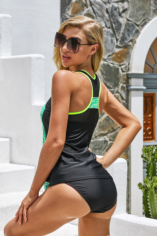 绿色扎染拉链半开襟背心拼色泳装两件套 LC411481