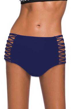 蓝色镂空交叉带侧边高腰泳裤