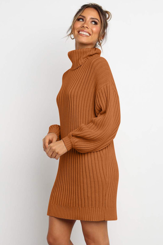 棕色优雅高领气球袖毛衣连衣裙 LC273066