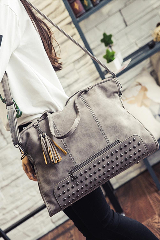 灰色复古铆钉装饰手提包 LC003298