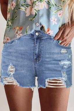 蓝色高腰磨损牛仔短裤