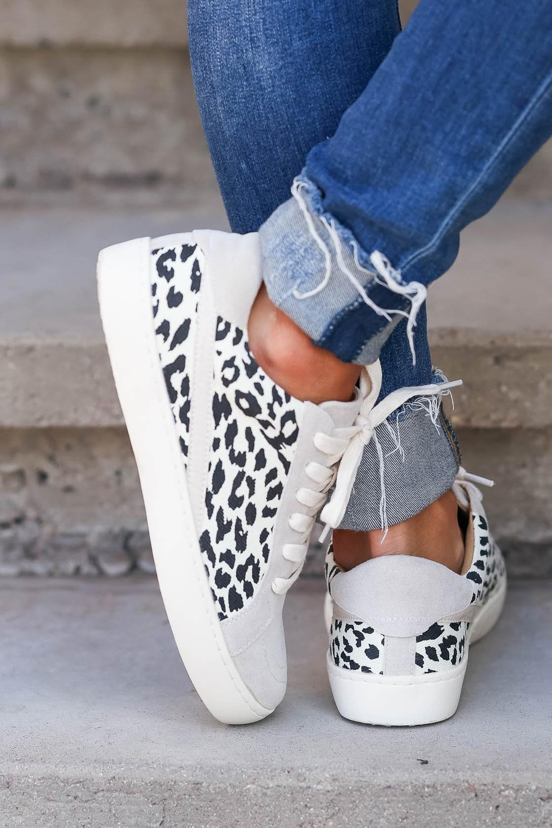 灰色豹纹拼接系带休闲运动鞋 LC12905