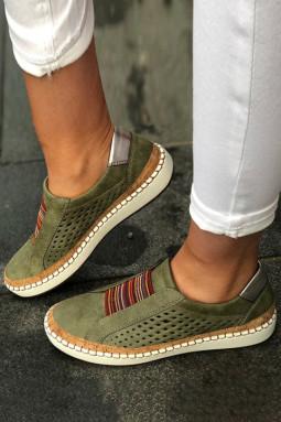 绿色镂空透气圆头平跟运动休闲鞋