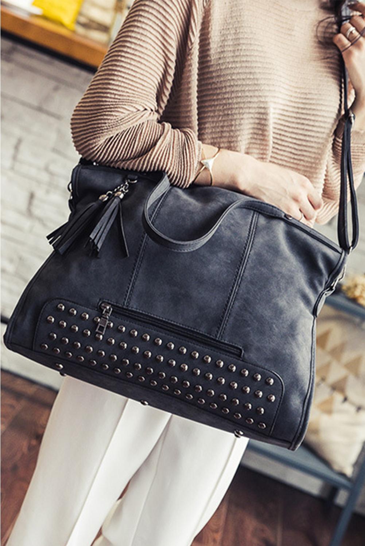 黑色复古铆钉装饰手提包 LC003298