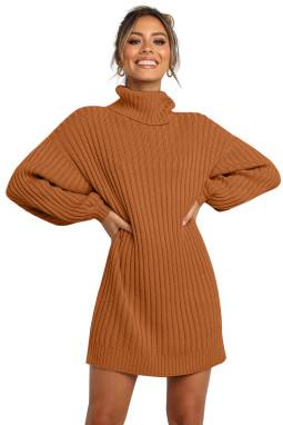 棕色优雅高领气球袖毛衣连衣裙