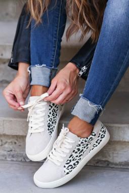 灰色豹纹拼接系带休闲运动鞋