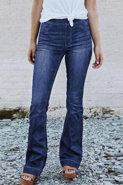 蓝色苗条高挑高腰喇叭牛仔裤