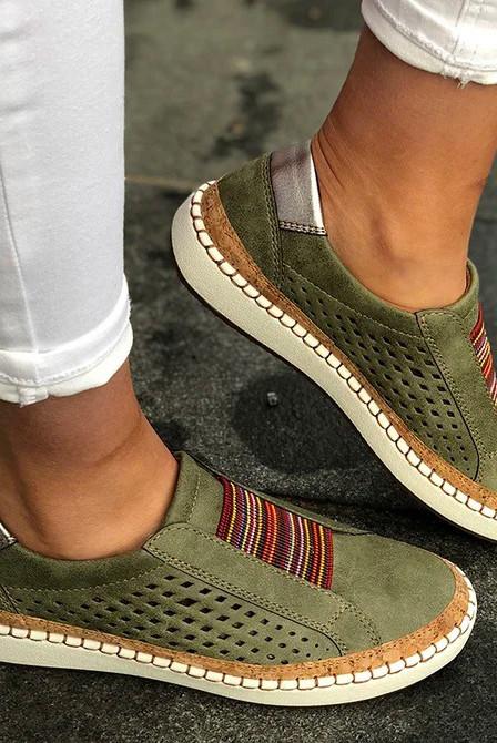 绿色镂空透气圆头平跟运动休闲鞋 LC12881