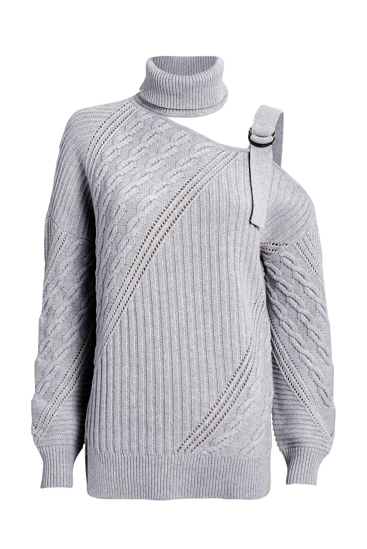 灰色别致不对称镂空搭扣优雅高领女士毛衣 LC272439