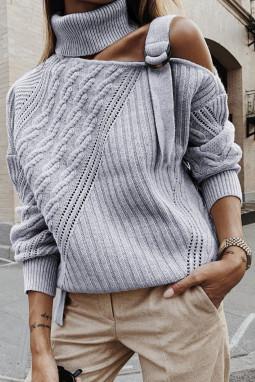灰色别致不对称镂空搭扣优雅高领女士毛衣
