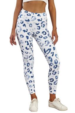 时尚豹纹运动休闲白色打底裤