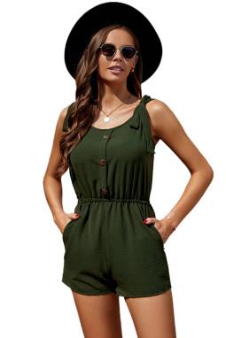 绿色绑结细节无袖低领饰扣侧袋休闲短款连衣裤