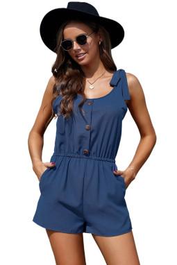 蓝色绑结细节无袖低领饰扣侧袋休闲短款连衣裤