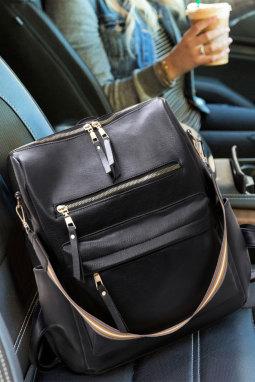 黑色拉链开合多功能背包