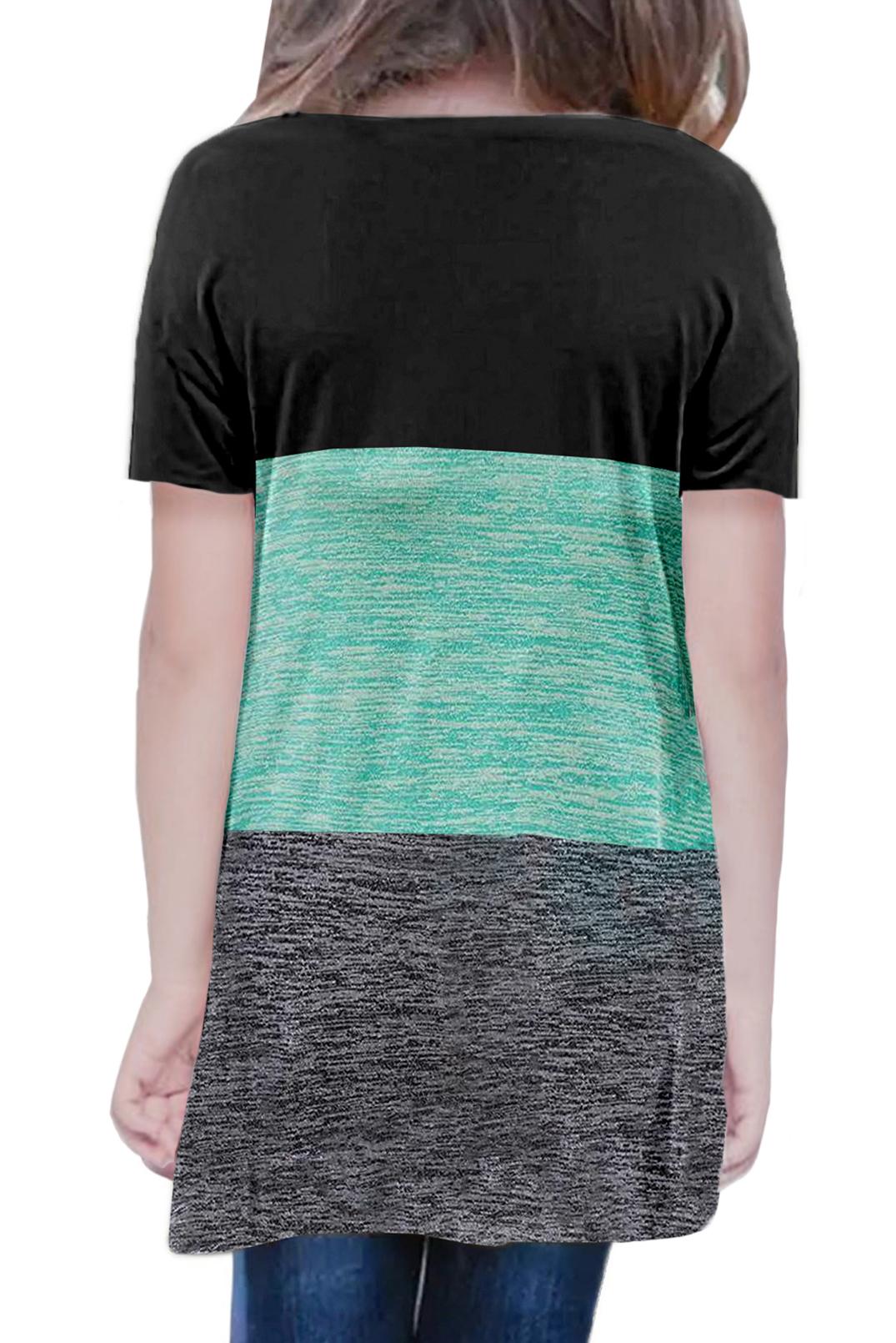 绿色撞色圆领短袖扭结可爱小女孩舒适上衣 TZ25147