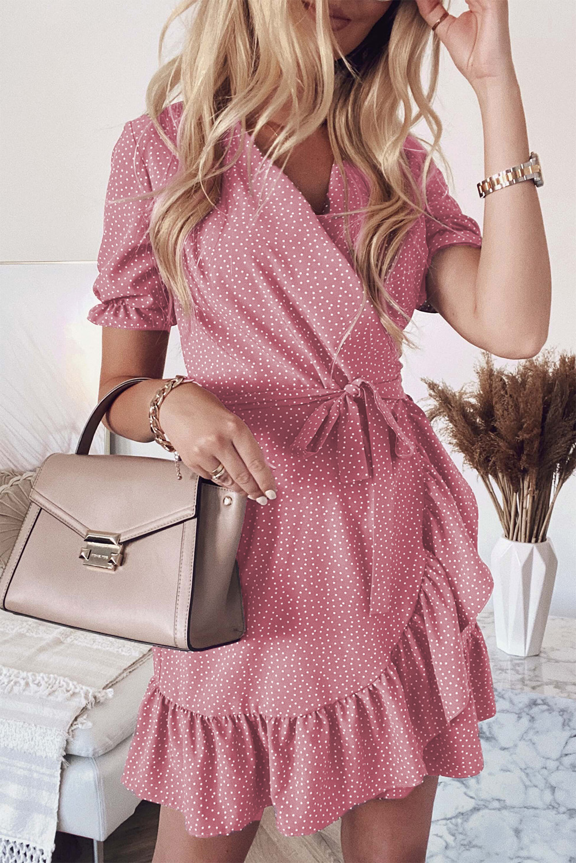 粉色波西米亚波点印花裹身V领荷叶边迷你连衣裙 LC223660