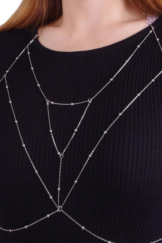 银色文胸线束美体链首饰 LC011454