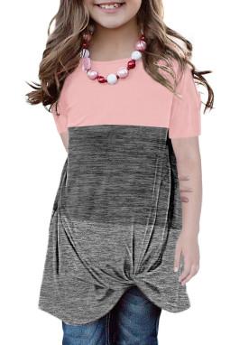 粉色撞色圆领短袖扭结可爱小女孩舒适上衣