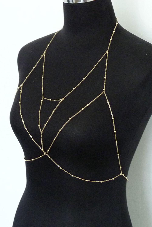 金色文胸线束美体链首饰 LC011454
