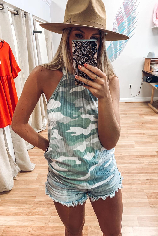 女士夏季迷彩透气针织女士背心 LC256523