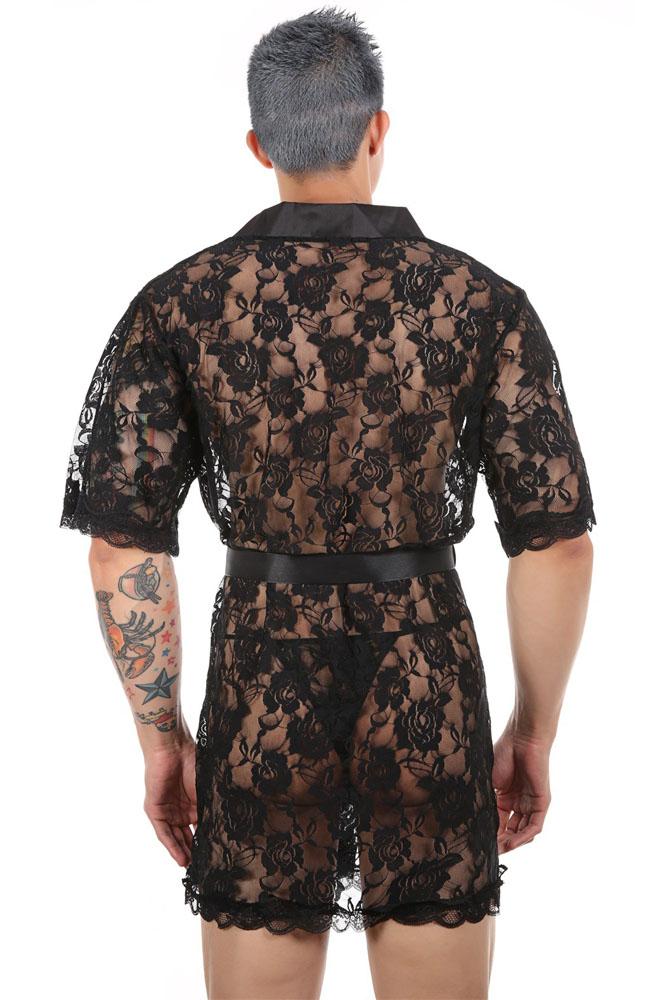 男士性感透视精致花卉蕾丝系带罩袍 LC31556