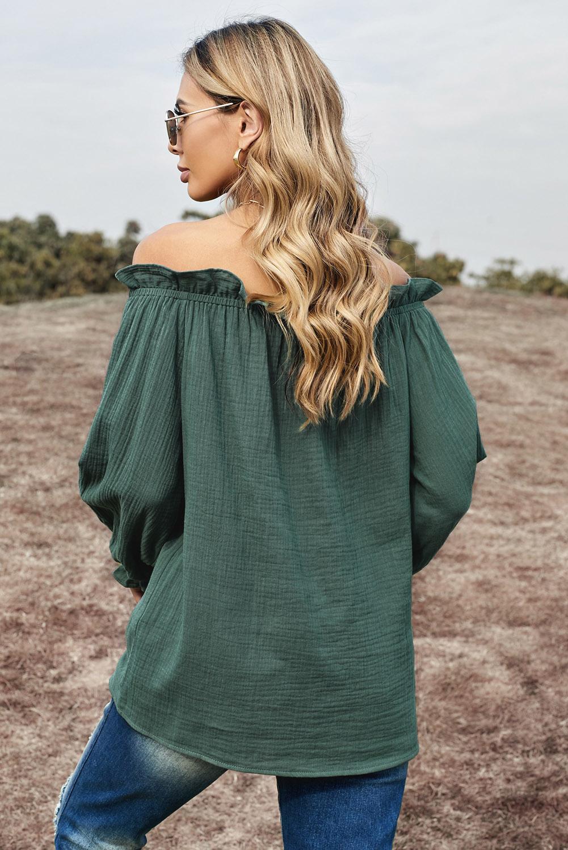 绿色荷叶边露肩一字领灯笼袖时尚女士上衣 LC2514105