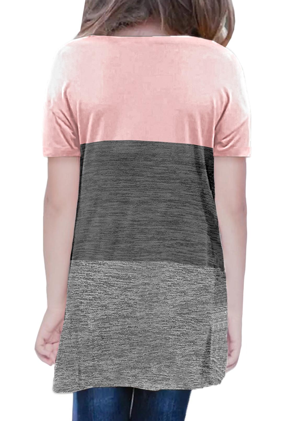 粉色撞色圆领短袖扭结可爱小女孩舒适上衣 TZ25147